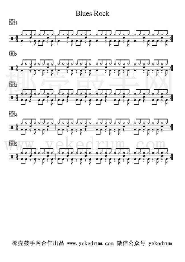 Blues Rock节奏型练习高清鼓谱及音频演示
